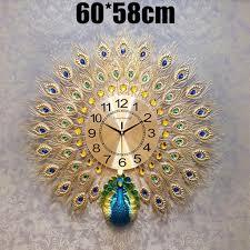 gold 60x58cm moderne pfauenuhr quarz kaufland de
