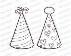Party Hats Digital Stamps Cute kids birthday black clip art for Scrapbooking Educational