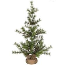 2 Green Pine Artificial Christmas Tree With Burlap Base Stand