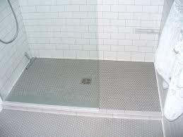 penny tile floor Grey Grout