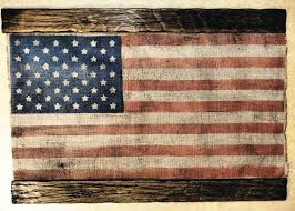 American Flag Decor Artwork Made Of Burlap And Wood