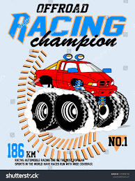 100 Red Monster Truck Around Texts Black Stock Illustration Royalty