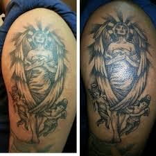 Left Half Sleeve Angel Tattoo For Men Image Source Tattooshunt Rosary