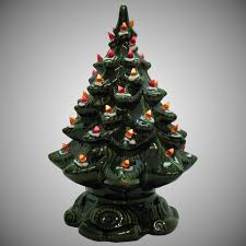 Small Vintage Ceramic Christmas Tree Light Up Base Faux Plastic Lights Very Good Condition 1970s