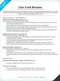 Chef Sample Resume Line Cook Objective