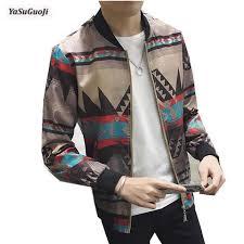 New 2017 Autumn Vintage Style Fashion Floral Print Thin Jacket Men Rib Collar And Sleeve