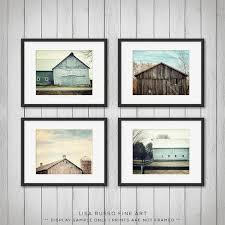 Farmhouse Decor Rustic Home Teal Set Of 4 Prints Or Canvas Art Barn Aqua