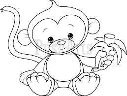 Baby Monkey Coloring Pages Printable Page Cute Free Kids Girl For Toddlers Full Size