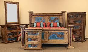 ZLUNA 101Q TURQ Turquoise Copper Panel Rustic Bedroom Set
