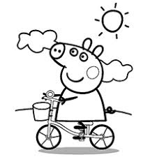 Peppa Cycling On Sunny Day Complete Pig Family Going For An Outing Coloring Pages