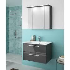 details zu pelipal bad set trentino 3 tlg anthrazit hochglanz badezimmer becken led 77 cm
