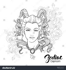 Capricorn Woman In Bed by Zodiac Capricorn Coloring Page Shutterstock 329026388