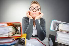 Download Bored Office Employee At Work Stock Image