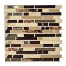shop smart tiles 6 pack brown linear mosaic composite vinyl wall