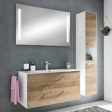 badezimmer hochschrank fes 3065 66 in weiß matt riviera eiche quer nb mit glasböden b h t 30 4 166 8 32 5cm