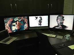 Imac Monitor Desk Mount by Mac Setup Triple Display Retina Imac Workstation