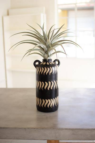 Kalalou H3580 Black and White Clay Lenca Vessel with Handles