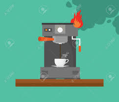 Broken Coffee Machine With Smoke And Fire Vector Stock