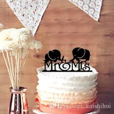 Funny Wedding Cake Topper Silhouette Cute 2 Cut Elephants Mr & Mrs