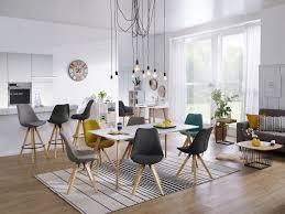 wohnling 2er set retro esszimmerstuhl lima hellgrau polsterstuhl stoff bezug rückenlehne design küchen stuhl gepolstert