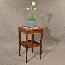 antique oak table side stand two tier tile top arts crafts