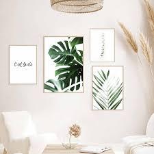 tropischen blatt druck poster monstera leaf palm leinwand malerei grüne blätter wand kunst wohnzimmer dekoration bilder an der wand