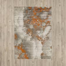 Trent Austin Design Chartwell Light Gray Burnt Orange Area Rug