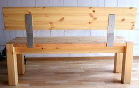massivholz sitzbank 140cm mit rückenlehne holzbank lehne kiefer gelaugt geölt