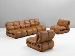 percival lafer modular sofa in rosewood and cognac leather for