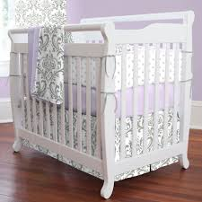 Lilac and Gray Traditions Damask Mini Crib Bedding