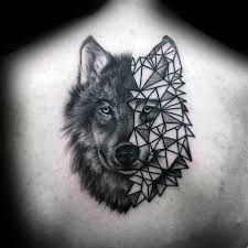 Ninety Geometric Wolf Tattoo Designs For Males
