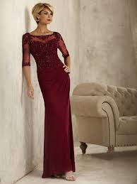 3 4 sleeves illusion neckline lace and chiffon wine red mother of