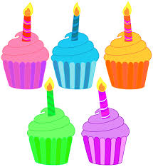 Clip art · Five birthday cupcakes with a single candle