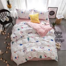 Christmas Tree Pink Trees Printed Sheet Pillowcase Duvet Cover Sets Bed Linens Cartoon House Bedding