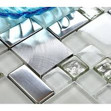 tile brushed aluminum tiles silver metal and glass mosaic kitchen