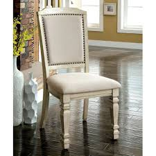 Details About Furniture Of America Damm Vintage White Fabric Side Chairs  Antique White 20 1/4
