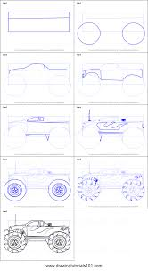 How To Draw A Monster Truck Printable Step By Step Drawing Sheet ...