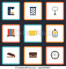 Flat Icons Watch Bookshop Espresso Machine And Other Vector Elements Set Of Workspace