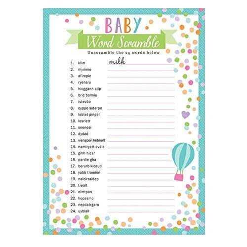 Amscan Baby Shower Word Scramble Game - 24 Sheets