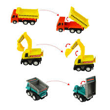 Amazon.com: Mini Cars Construction Trucks Set Pull Back Vehicles ...