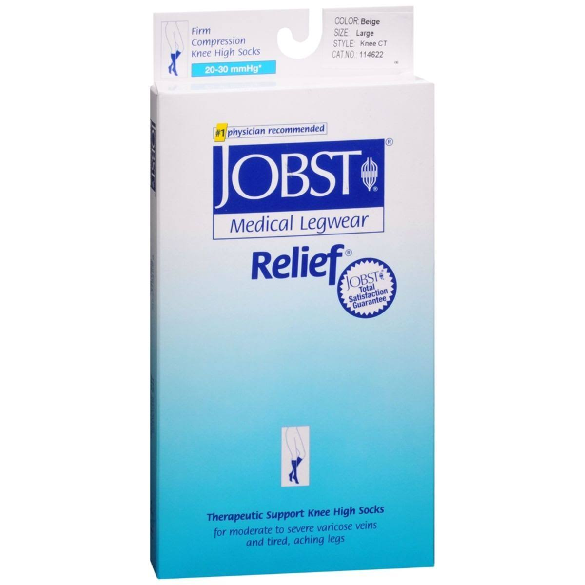 Jobst Medical Legwear Relief Knee High Socks - Large, Beige, 1 Pair, 20-30mmHg