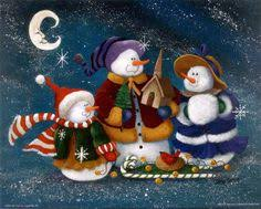 snowman Santa Claus with friends Illustration