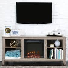 58 inch Driftwood Wood TV Stand with Fireplace Free Shipping