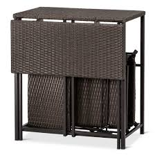 Courtyard Creations Patio Table by 5pc All Weather Wicker Patio Dining Set Brown Courtyard