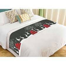 ZKGK Merry Christmas Tree Bed Runner Bedding Scarf Decor 20x95 Inches