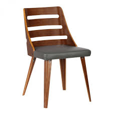 Armen Living Barrister Chair by Living Storm Mid Century Dining Chair In Walnut Wood And Gray Pu