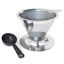 Coffenation Pour Over Coffee Cone Dripper With Cup Stand Scoop Reusabel Paperless Stainless Steel Drip Maker Single