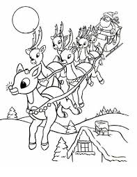 Rudolph And Santa Leigh Reindeers Coloring Page