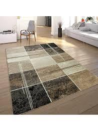 paco home designer teppich kariert in marmor optik meliert braun beige schwarz preishammer klingel