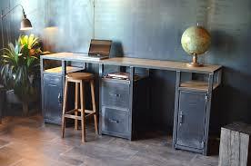bureau console bois bureau console bois métal industriel sur mesure micheli design